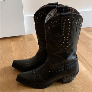 Ariat Ats black studded cowboy boots 6